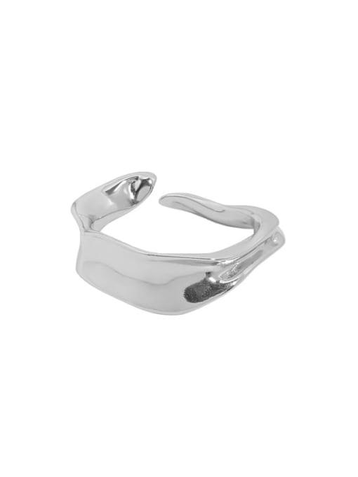 Jb097 [platinum] 925 Sterling Silver Irregular Vintage Band Ring